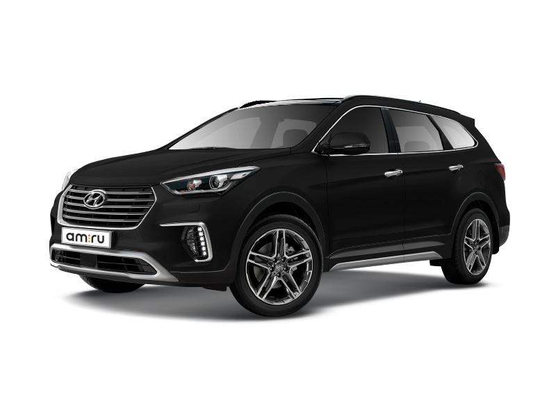 Новый авто Hyundai Santa Fe, черный металлик, 2016 года выпуска, цена 2 819 000 руб. в автосалоне МОДУС Hyundai Пятигорск (Пятигорск, ул. Ермолова, д. 48)