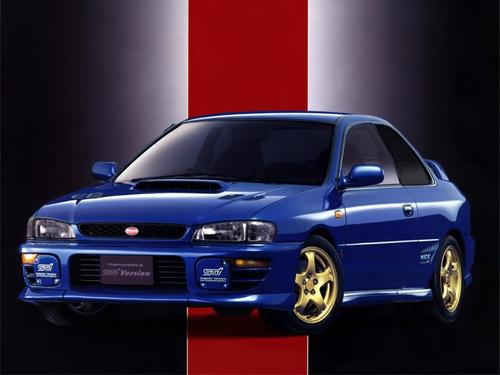 Фото автомобиля Subaru Impreza 1 поколение [рестайлинг], ракурс: 45 цвет: синий