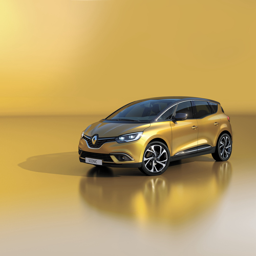 Фото автомобиля Renault Scenic 4 поколение, ракурс: 45 цвет: желтый