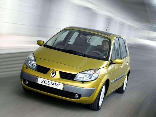 Фото автомобиля Renault Scenic 2 поколение, ракурс: 45 цвет: желтый