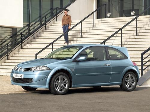 Фото автомобиля Renault Megane 2 поколение [рестайлинг], ракурс: 45 цвет: голубой