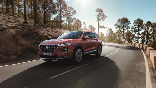 Фото автомобиля Hyundai Santa Fe TM, ракурс: 45 цвет: красный