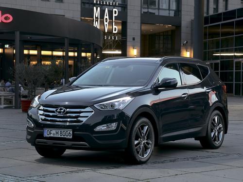 Фото автомобиля Hyundai Santa Fe DM, ракурс: 45 цвет: черный