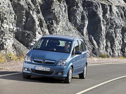 Фото автомобиля Opel Meriva 1 поколение [рестайлинг], ракурс: 45 цвет: голубой