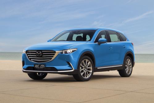 Фото автомобиля Mazda CX-9 2 поколение, ракурс: 45 цвет: голубой