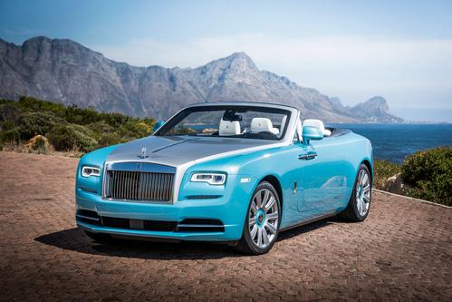 Фото автомобиля Rolls-Royce Dawn 1 поколение, ракурс: 45 цвет: голубой