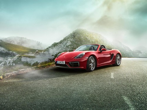 Фото автомобиля Porsche Boxster 981, ракурс: 45 цвет: красный