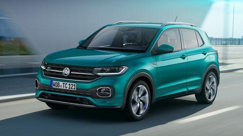 Фото автомобиля Volkswagen T-Cross 1 поколение, ракурс: 45 цвет: бирюзовый