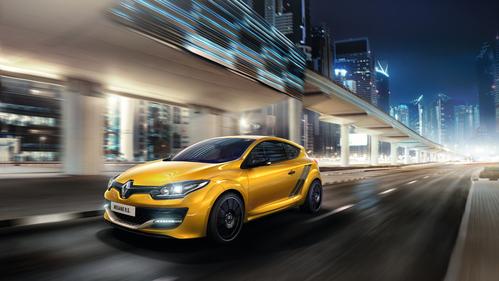 Фото автомобиля Renault Megane 3 поколение [2-й рестайлинг], ракурс: 45 цвет: желтый