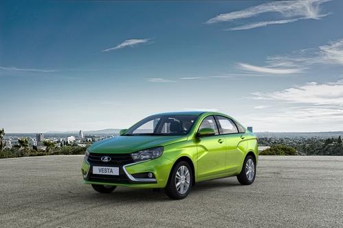 Фото автомобиля ВАЗ (Lada) Vesta 1 поколение, ракурс: 45 цвет: зеленый