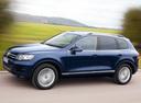 Фото авто Volkswagen Touareg 2 поколение, ракурс: 90 цвет: синий