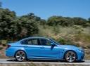 Фото авто BMW M3 F80, ракурс: 270 цвет: голубой
