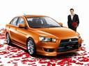 Фото авто Mitsubishi Lancer X, ракурс: 315 цвет: оранжевый