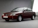 Фото авто Kia Spectra 1 поколение [рестайлинг], ракурс: 45 цвет: бордовый