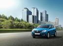 Фото авто Renault Sandero 2 поколение [рестайлинг], ракурс: 45 цвет: голубой