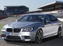 Фото авто BMW M5 F10 [рестайлинг], ракурс: 45 цвет: серый