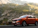 Фото авто ВАЗ (Lada) Vesta 1 поколение, ракурс: 45 цвет: красный