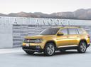 Фото авто Volkswagen Teramont 1 поколение, ракурс: 45 цвет: желтый