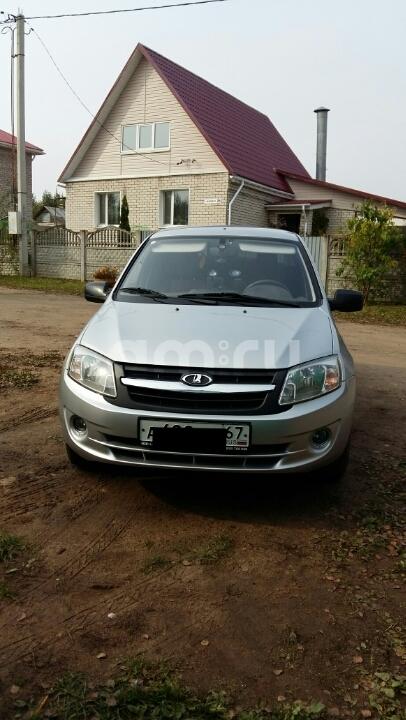 Подержанный ВАЗ (Lada) Granta, отличное состояние, серебряный металлик, 2012 года выпуска, цена 300 000 руб. в Смоленской области