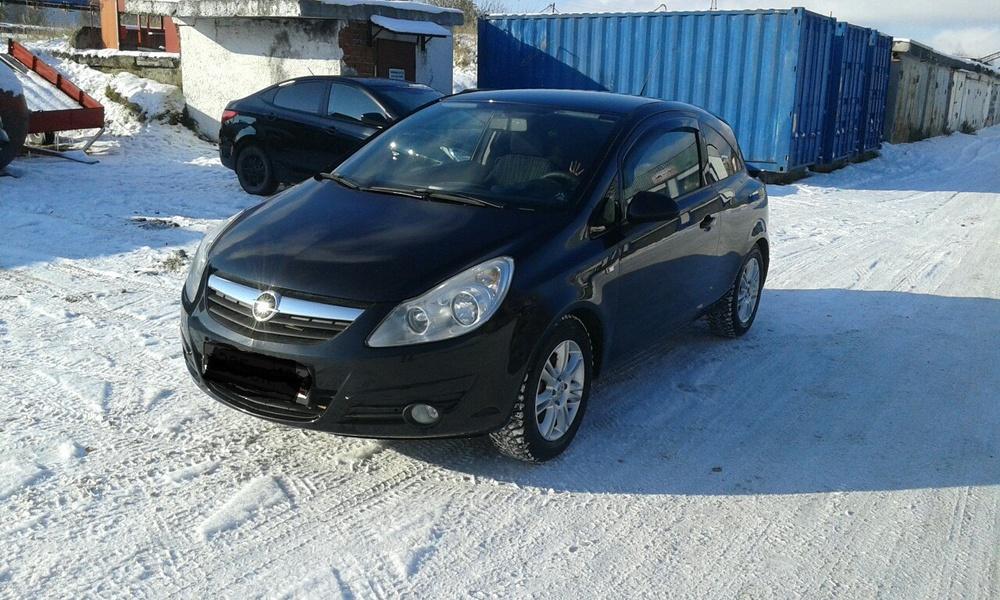 Подержанный Opel Corsa, отличное состояние, черный металлик, 2008 года выпуска, цена 300 000 руб. в ао. Ханты-Мансийском Автономном округе - Югре