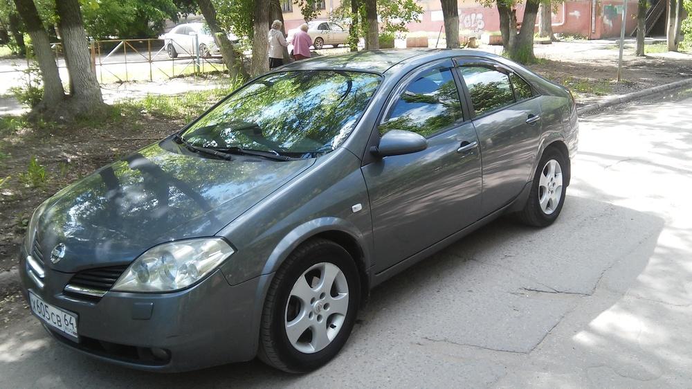 Подержанный Nissan Primera, хорошее состояние, мокрый асфальт металлик, 2005 года выпуска, цена 289 000 руб. в Саратове