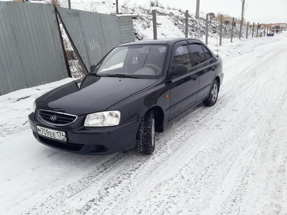 Подержанный Hyundai Accent, отличное состояние, черный , 2008 года выпуска, цена 262 000 руб. в Челябинской области