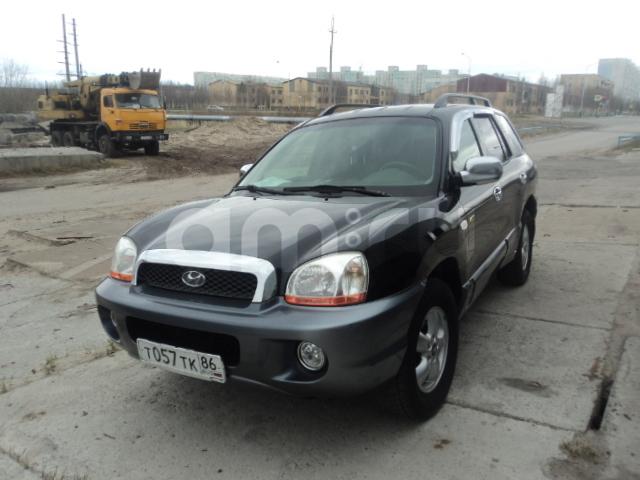 Подержанный Hyundai Santa Fe, хорошее состояние, черный , 2004 года выпуска, цена 360 000 руб. в ао. Ханты-Мансийском Автономном округе - Югре