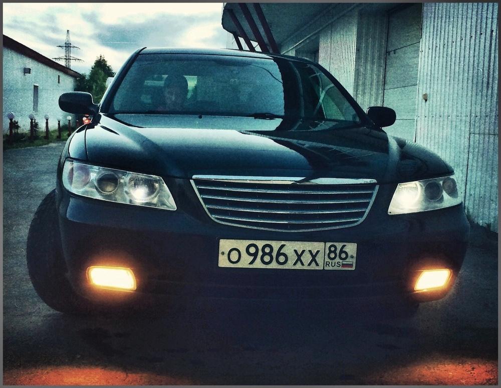 Подержанный Hyundai Grandeur, хорошее состояние, черный , 2007 года выпуска, цена 450 000 руб. в ао. Ханты-Мансийском Автономном округе - Югре