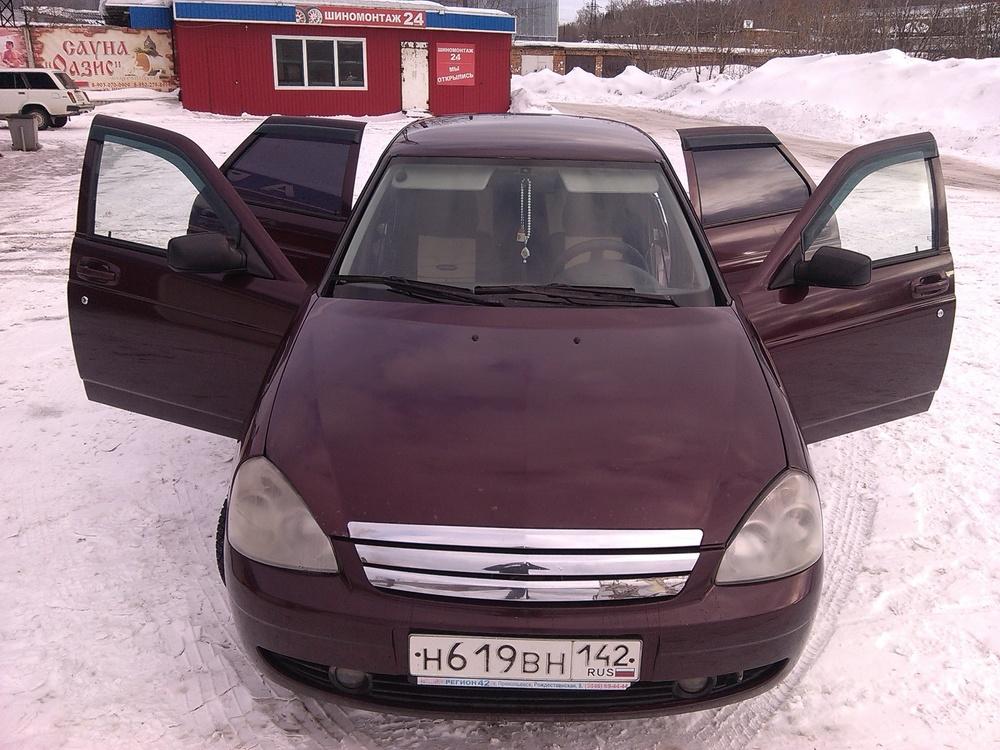 Подержанный ВАЗ (Lada) Priora, хорошее состояние, бордовый металлик, 2008 года выпуска, цена 200 000 руб. в Кемеровской области