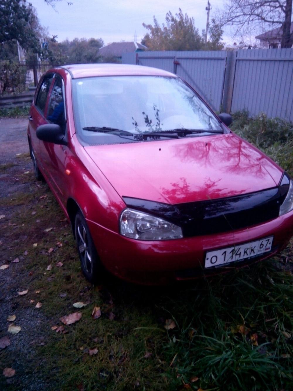 Подержанный ВАЗ (Lada) Kalina, хорошее состояние, красный металлик, 2007 года выпуска, цена 160 000 руб. в Смоленской области
