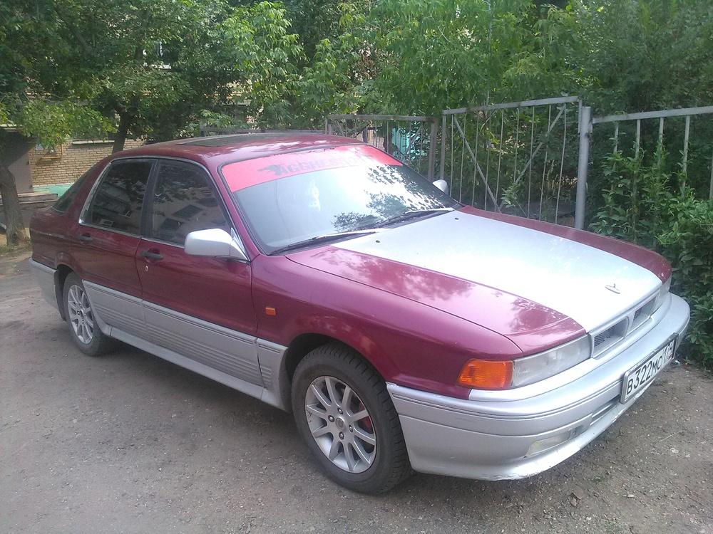 Подержанный Mitsubishi Galant, хорошее состояние, бордовый , 1990 года выпуска, цена 110 000 руб. в Челябинской области