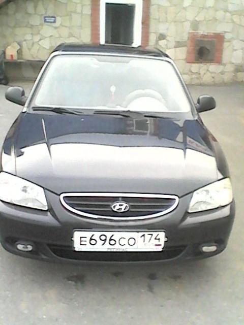 Подержанный Hyundai Accent, отличное состояние, черный , 2006 года выпуска, цена 228 000 руб. в Челябинской области