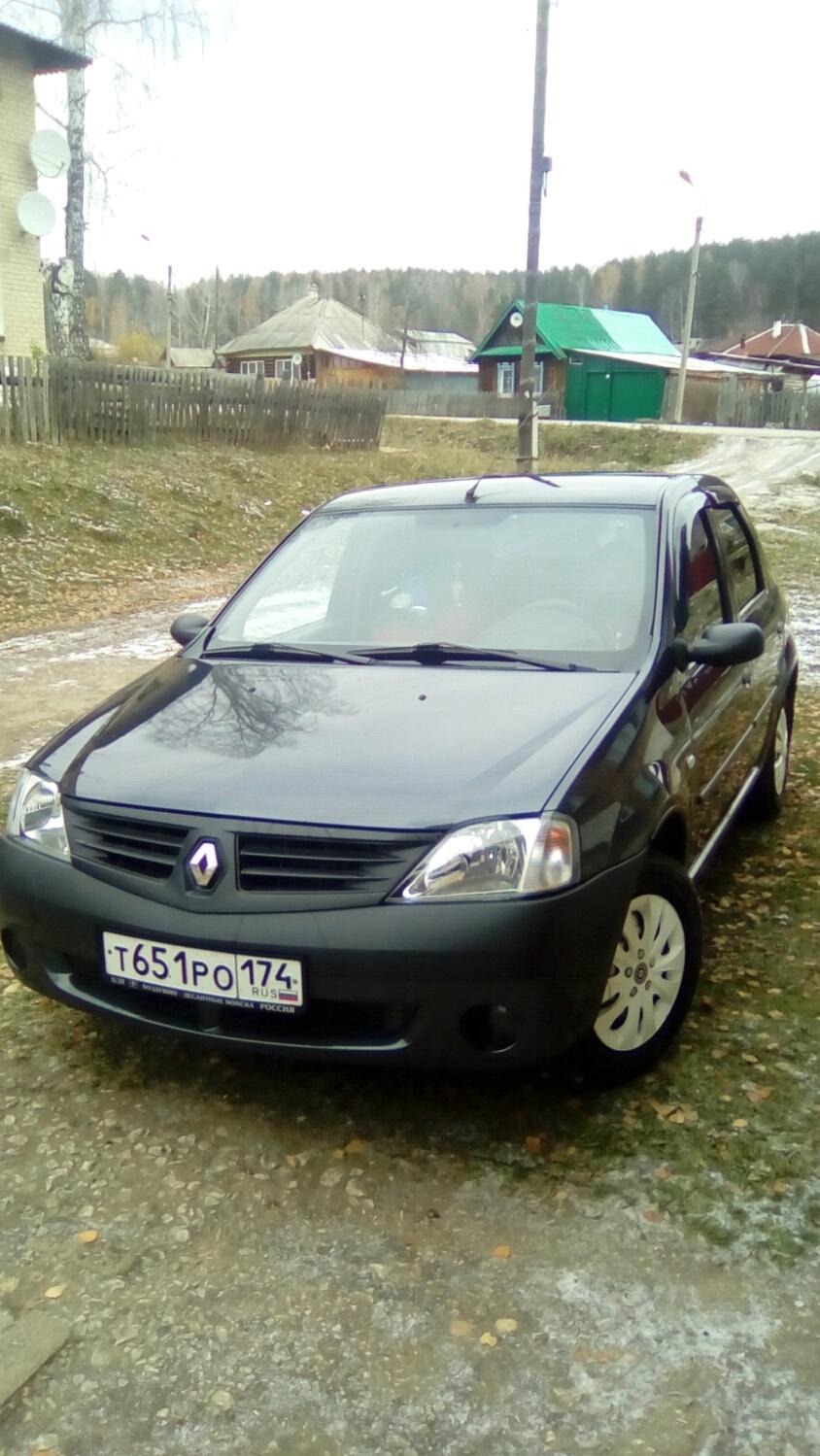 Подержанный Renault Logan, отличное состояние, черный металлик, 2007 года выпуска, цена 215 000 руб. в Челябинской области