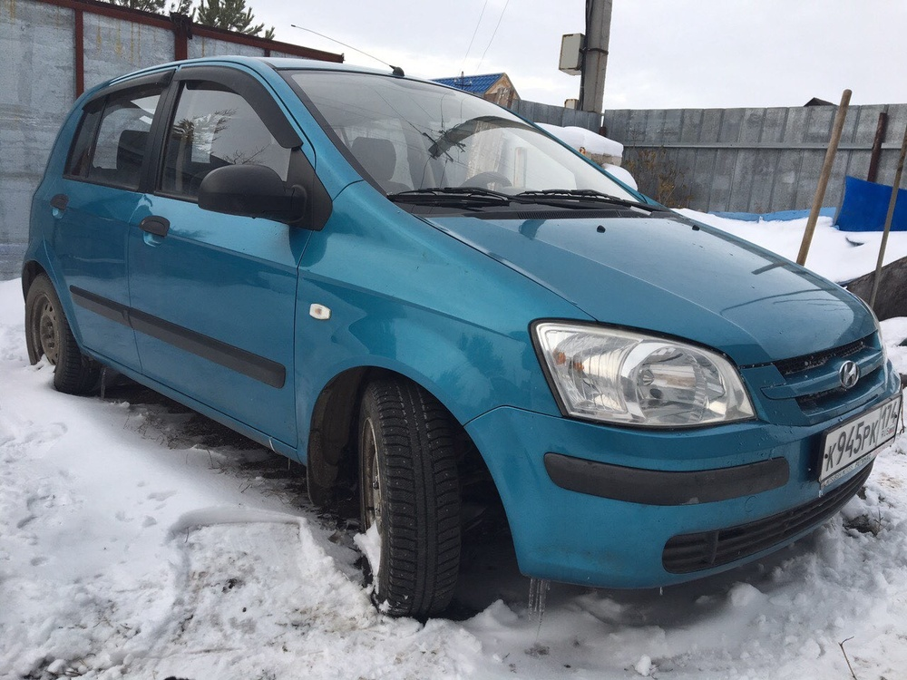 Подержанный Hyundai Getz, хорошее состояние, голубой , 2004 года выпуска, цена 165 000 руб. в Челябинской области