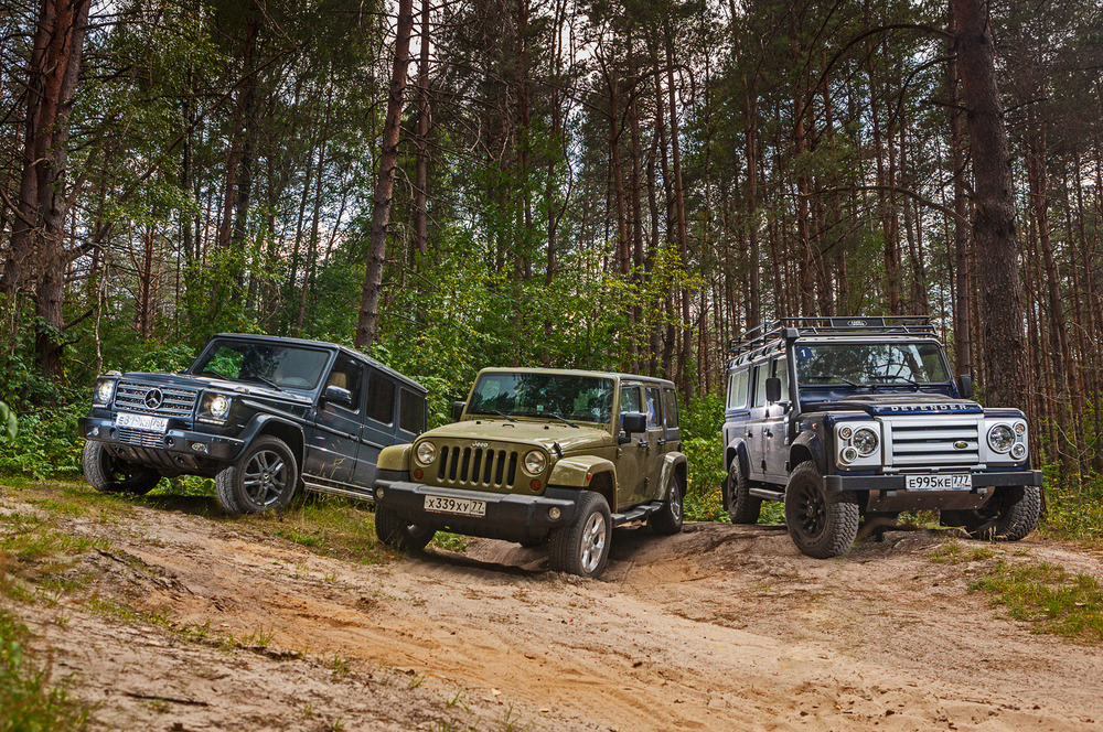 Фотографии теста Land Rover Defender 110 «Русские Витязи», Jeep Wrangler Unlimited Sahara и Mercedes-Benz G350d – смотреть фото на Am.ru